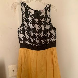 Yellow and black/ print dress